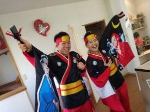 高知のお祭り、よさこい祭りに参加するサンブランドハウス高知店スタッフの佐藤の写真です。
