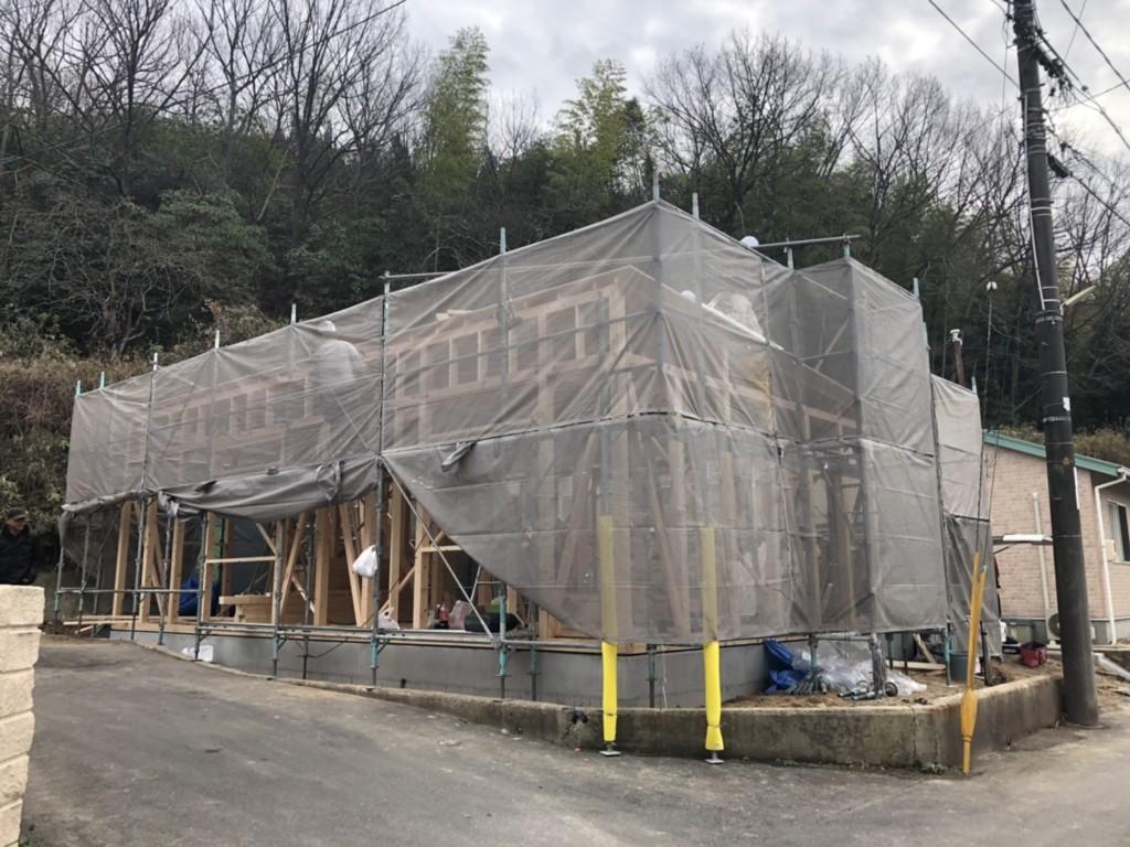 岡山県倉敷市の新築K様邸の上棟の時の写真です。
