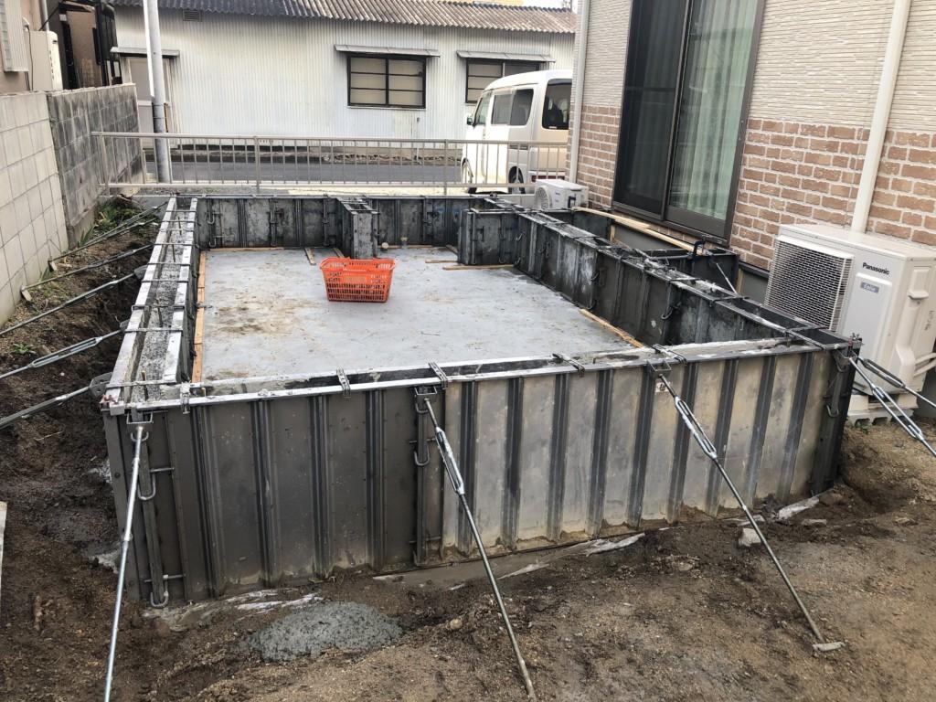 倉敷市の増築工事の基礎の画像です。