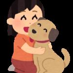 女の人と犬のイラストです。