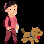 犬の散歩のイラストです | 倉敷市で月々三万円で新築を建てるならサンブランドハウス